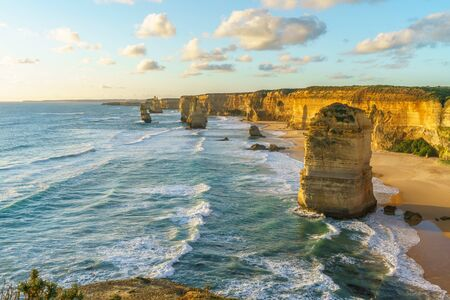 twelve apostles marine national park at sunset,great ocean road at port campbell, victoria, australia