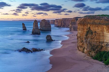 twelve apostles marine national park at sunset,great ocean road at port campbell, victoria, australia