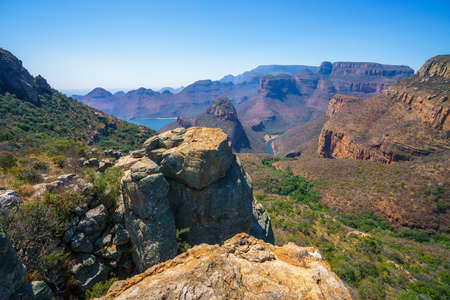 impressive view of three rondavels and the blyde river canyon in south africa Reklamní fotografie - 151170506