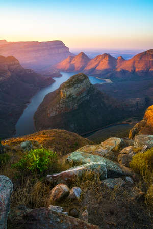 impressive view of three rondavels and the blyde river canyon in south africa