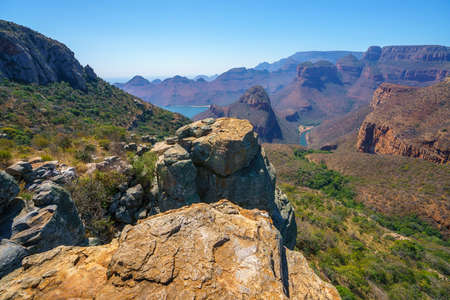 view of three rondavels and the blyde river canyon at sunset in south africa Reklamní fotografie - 151170620