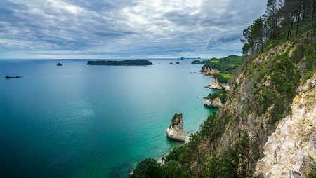 view from the top. panorama of coastline of the cathedral cove, coromandel, new zealand