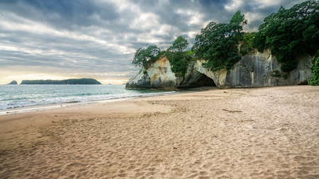 the cave of cathedral cove, coromandel in new zealand