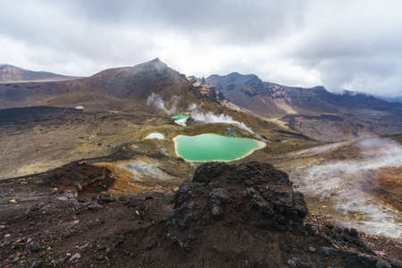 emerald lakes at tongariro alpine crossing in volcanic crater of mount ngauruhoe in new zealand