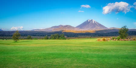 sunrise over cone volcano mount ngauruhoe in tongariro in new zealand 免版税图像