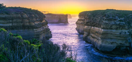 famous mutton bird island at sunrise, great ocean road in victoria, australia