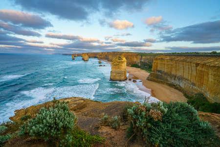 famous twelve apostles at sunrise, great ocean road in victoria, australia