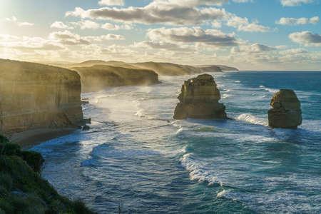 famous gibson steps at sunrise, twelve apostles, great ocean road in victoria, australia
