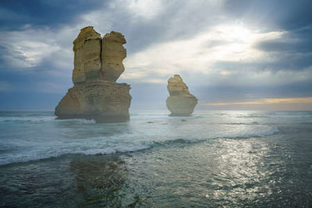 famous gibson steps at sunset, twelve apostles, great ocean road in victoria, australia