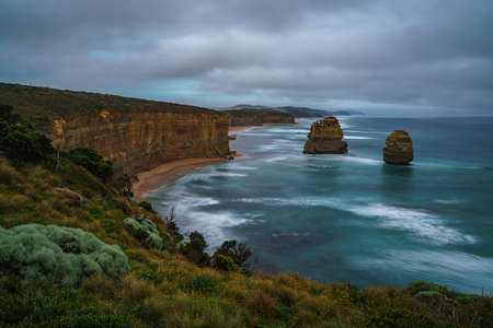 famous twelve apostles at sunset, great ocean road in victoria, australia