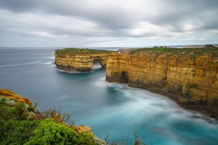 famous island arch lookout, great ocean road in victoria, australia
