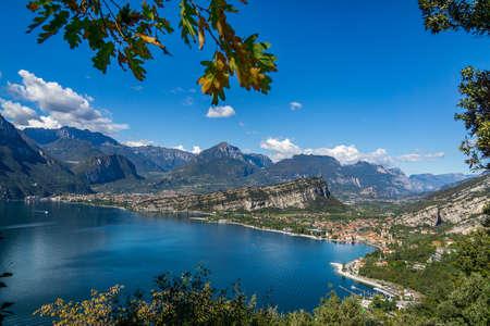 panoramic view of riva del garda in the mountains at garda lake in italy