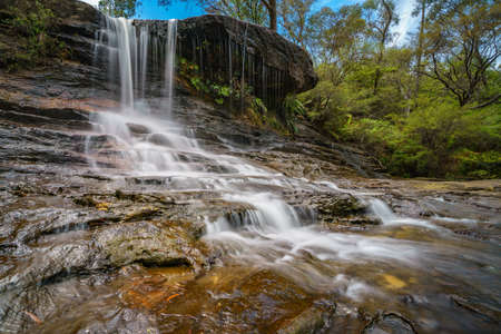 waterfall on weeping rock walking track, blue mountains national park, new south wales, australia Stock Photo