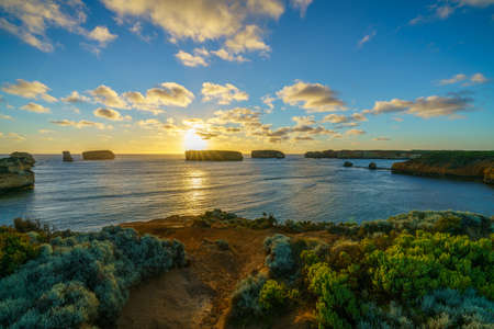 panorama of sunset at bay of islands, great ocean road, victory, australia Stock Photo