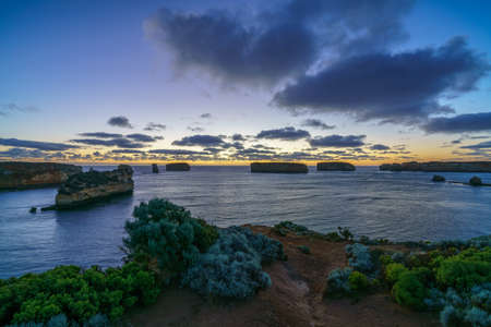 bay of islands after sunset at blue hour, great ocean road, victoria, australia