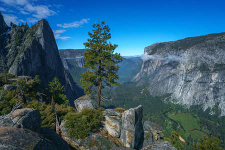 hiking the four mile trail in yosemite national park in california in the usa Stok Fotoğraf