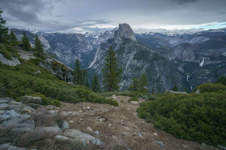 half dome and waterfalls from glacier point in yosemite national park, california, usa