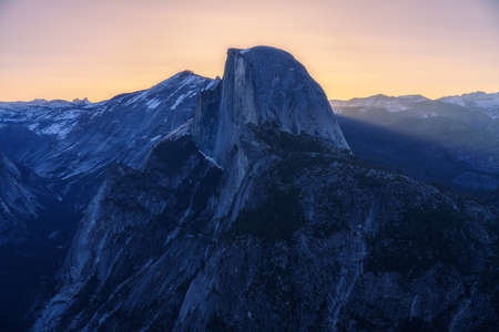 the half dome from glacier point in yosemite national park at sunrise Stok Fotoğraf