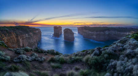famous tom and eva lookout at sunset, great ocean road in victoria, australia