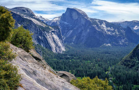 hiking the upper yosemite falls trail in yosemite national park in california in the usa Stok Fotoğraf