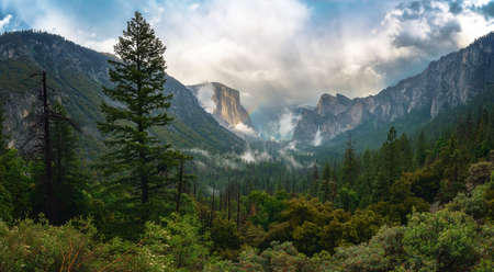 rainbow at the tunnel view in yosemite national park in california in the usa