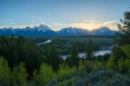 sunset at snake river overlook, grand teton national park in wyoming in the usa