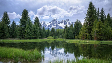 sunset at schwabacher landing, grand teton national park in wyoming in the usa