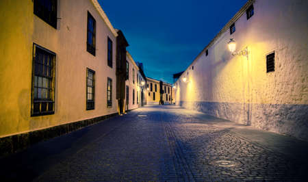 artificial light: La laguna - an old town in tenerife by night - with artificial light Stock Photo