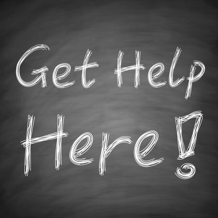 Get Help Here concept is written by chalk on blackboard. photo