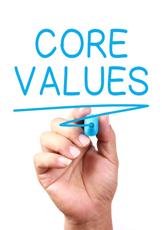 Core Values concept drawing on transparent whiteboard. Stock Photo