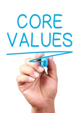 valores morales: Valores Core concepto dibujar en la pizarra transparente.