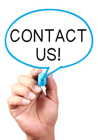 contactus: Say Contact Us on transparent white board with blue marker. Stock Photo