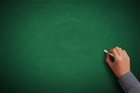 lecture hall: Hand writing on blank green chalkboard or background.