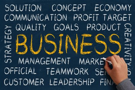 Business word cloud is written on blue chalkboard by the hand of a businessman. photo