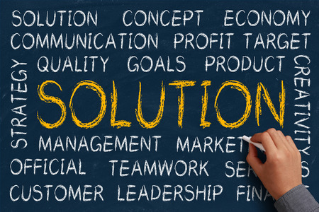 Solution word cloud is written on blue chalkboard by the hand of a businessman. Stock Photo