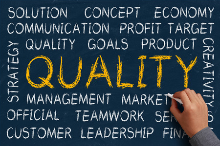 Quality word cloud is written on blue chalkboard by the hand of a businessman. photo