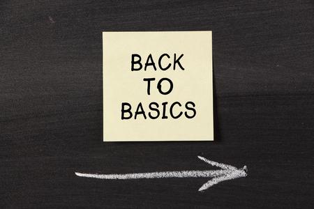Back To Basics - sticky note pasted on a blackboard background with a chalk arrow. photo