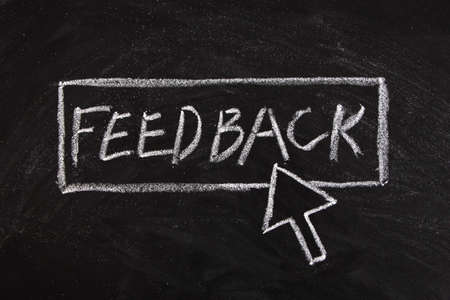 press button: Chalk written mouse cursor press button of feedback.