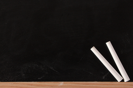 white chalks: Blank blackboard with two white chalks.