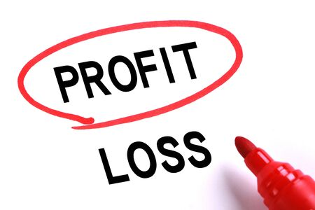 profit or loss: La elección de lucro en lugar de la pérdida con marcador rojo.