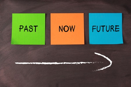 Past, now and future notes and a arrow on blackboard. Stok Fotoğraf - 37143330
