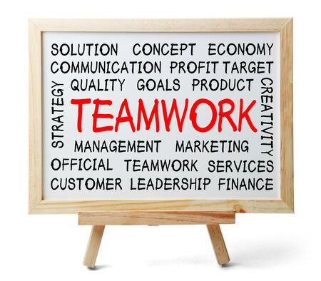 Teamwork word cloud is written on a whiteboard which is isolated on white background.