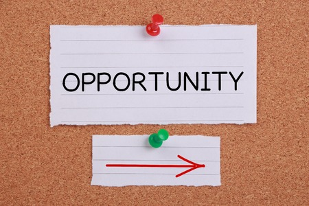 acute angle: Opportunity note paper pinned on corkboard. Stock Photo