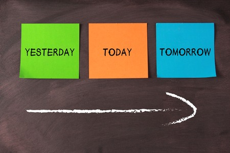 Today, yesterday, and tomorrow words on notes pasted on blackboard with a big arrow. Stock Photo