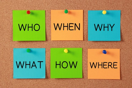 new business problems: Questions sticky notes on cork board. Stock Photo