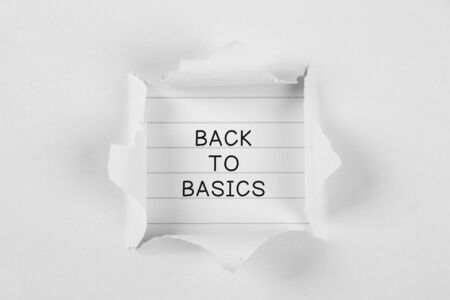 touchstone: Back to basics on note paper with white tear paper.