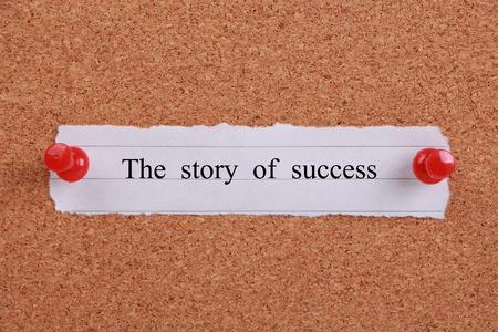 The story of success note pinned on cork. Reklamní fotografie