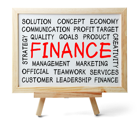 Finance word cloud is written on a whiteboard which is isolated on white background. photo