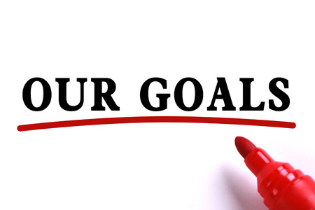 our vision: Our Goals Concept text is on white paper with red underline which is written by the red marker.