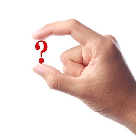 point d interrogation: Une main tenant Question Mark signe isol� sur fond blanc.